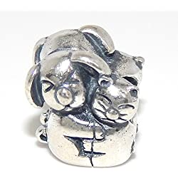 925 Solid Sterling Silver Two-sided Dog and Cat Hugging Charm Bead