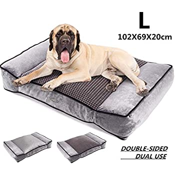 Pecute Dog Bed, Warm Plush & Cool Silk Double-Sided Pet Bed Four Seasons Available, Orthopedic Memory Foam Care for Cervical Spine, Dog Lounge Bed Sofa with Removable Cover Washable (40x27 in, Grey)