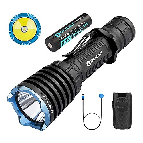 Olight Warrior X 2000 Lumens Rechargeable Tactical Flashlight with Cree XHP35 NW LED Ultra Bright, 18650 HDC Battery Plus Vibrating Power Indicator, Magnetic Charging Tail Switch, 560 Meters Two Light Modes Waterproof