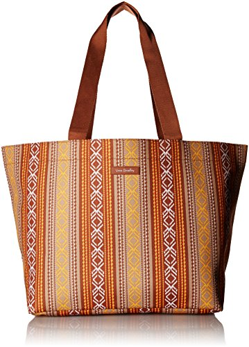 Vera Bradley Lighten Up Drawstring Family Tote, Microfiber, Neutral Serape Stripe