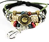 QTMY Wooden beads Natural Genuine Leather Classic Bracelet with Anchor Charm