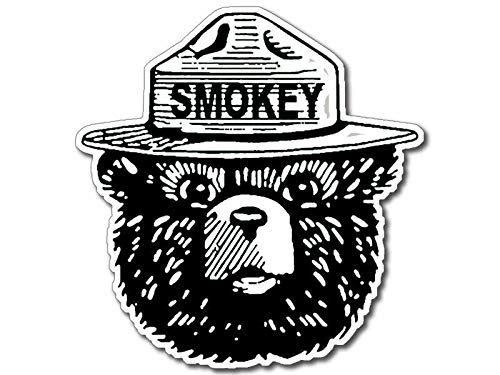 (MAGNET 4x4 inch Black and White SMOKEY BEAR Face Shaped Sticker (Smoke fire Forest) Magnetic vinyl bumper sticker sticks to any metal fridge, car, signs)