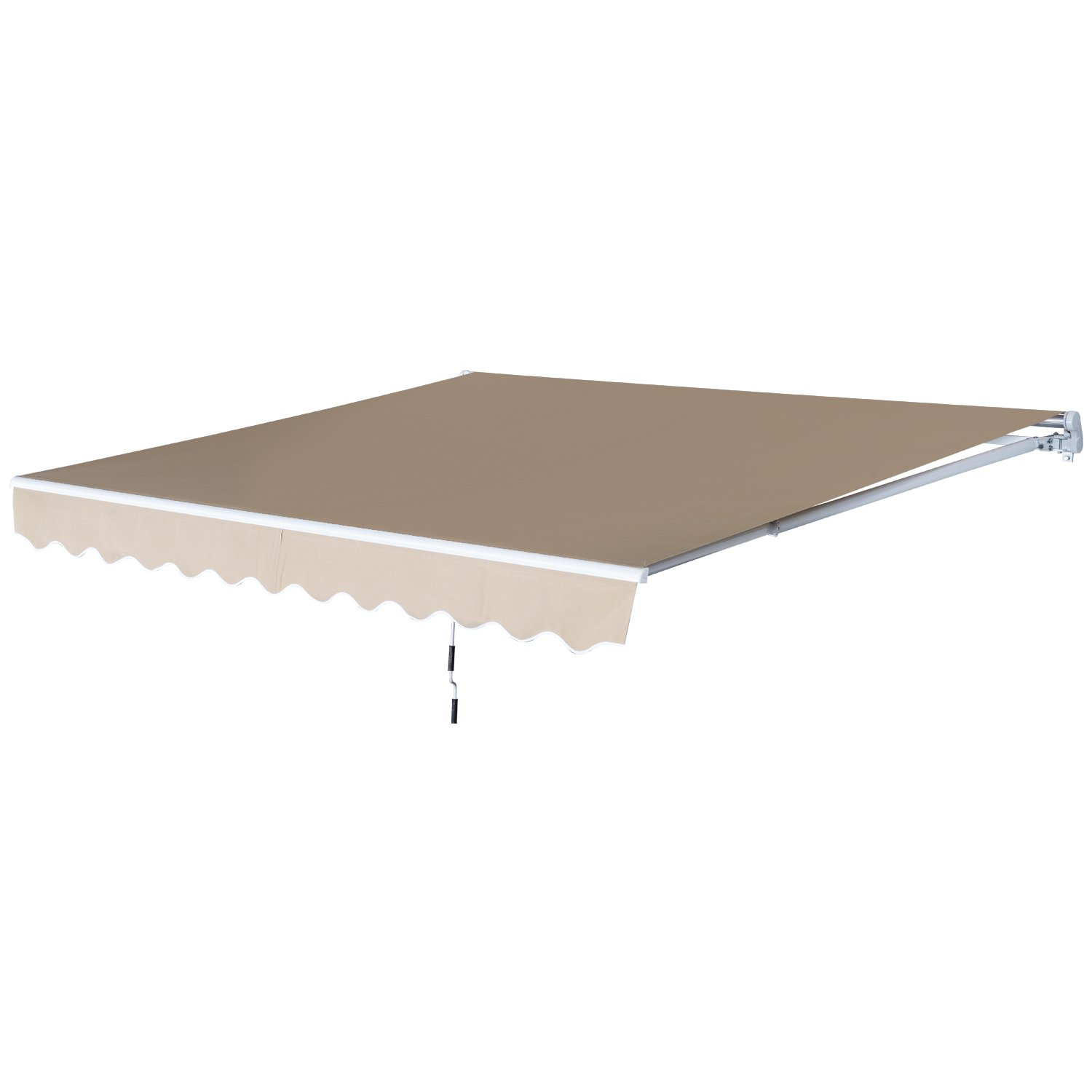 Outsunny 12' x 8.2' Outdoor Patio Manual Retractable Exterior Window Awning - Tan