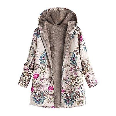 XOWRTE Women's Floral Print Pockets Vintage Oversize Winter Warm Hooded Jacket Cardigan Overcoat Outwear Coat