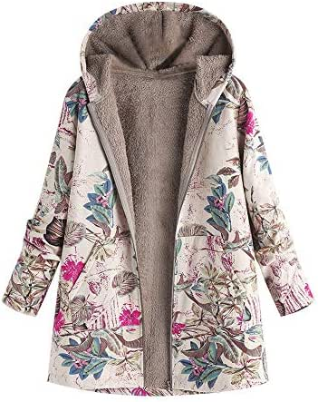 Overcoat for Women Plus Size Winter Warm Outwear Fashion Floral Print Hooded Pockets Vintage Oversize Coats