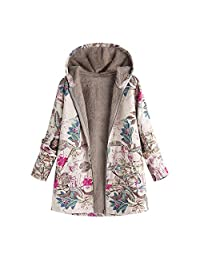SJLee Clothes Hooded Coats Womens Plus Size Winter Warm Outwear Floral Print Pockets Vintage