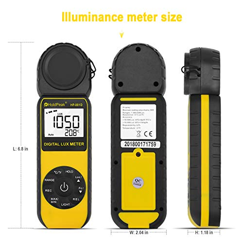 HOLDPEAK 881D Digital Illuminance/Light Meter with 0.01-400,000 Lux(1-40,000 FC) 270 ° Rotate Sensor Head, MAX/MIN,Backlight,Data Hold&Storage,lumens Meter for Plants and led Lights by H HOLDPEAK (Image #3)