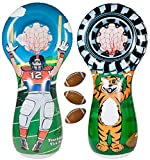 ImpiriLux Inflatable Football Toss Sports Game with 3 Mini Footballs Included | 5 Foot Tall Double Sided Throwing Target Toy - Football Player on One Side and Mascot Holding Tire on Reverse