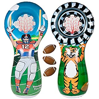 ImpiriLux Inflatable Football Toss Sports Game with 3 Mini Footballs Included   5 Foot Tall Double Sided Throwing Target Toy - Football Player on One Side and Mascot Holding Tire on Reverse