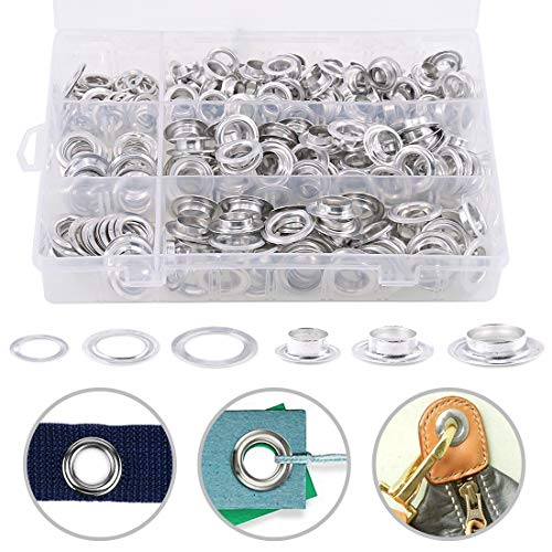 Hilitchi 230 Sets 2/5 1/2 14/25 Aluminum Heavy Duty Grommets Eyelets with Washers for Curtain Leather Canvas Belts and DIY with Storage Box