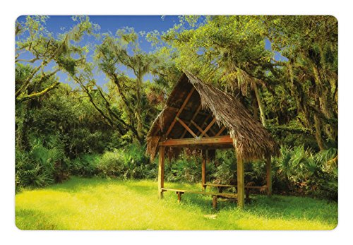 Tiki Bar Pet Mats for Food and Water by Ambesonne, Tiki Hut in Dreamy Fantasy Forest Tropical Island Wildlife Greenery Art, Rectangle Non-Slip Rubber Mat for Dogs and Cats, Green - Hut In Forest