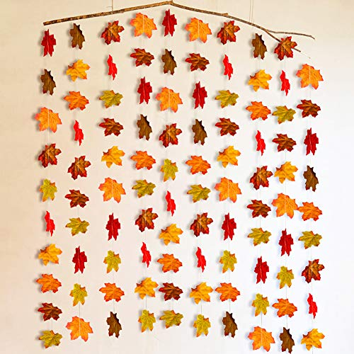 10Pcs Fall Maple Leaf Garland, Artificial Autumn Maple Leaves Plants Vine Hanging Garland for Home Garden Kitchen Office…