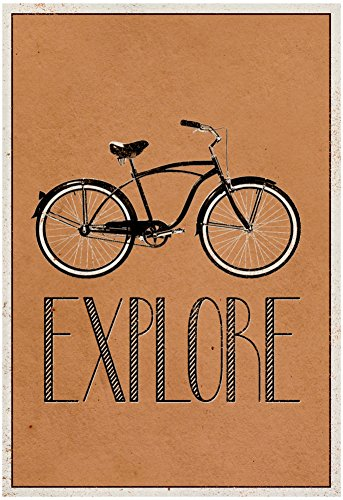 Explore Retro Bicycle Player Art Poster Print 13 x 19in with Poster Hanger