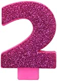 Toys : #2 Glitter Birthday Candle | Pink | Party Supply