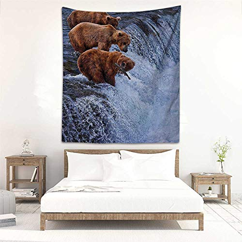 Godves Wall Tapestry Wildlife Decor Grizzly Bears Fishing in River Waterfalls Cascade Alaska Nature Camp View Tapestry for Home Decor 51
