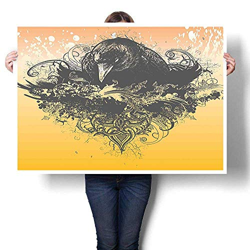 SCOCICI1588 Canvas Wall Art,Halloween Theme Vector Illustration of a Wicked Crow and Flowers Print Black and Oils,Canvas Texture Decoration,32