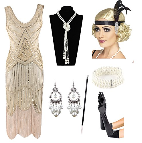 1920s Gatsby Sequin Fringed Paisley Flapper Dress with 20s Accessories Set (2XL, Beige) ()