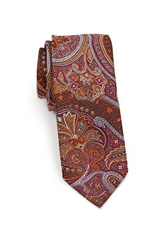 Bows-N-Ties Men's Necktie Paisley Skinny Microfiber Tie Satin 2.5 Inches (Cinnamon Red)