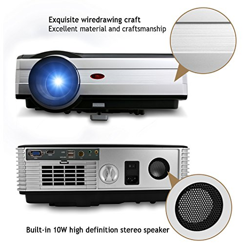 Eug 1080p wireless video projector 3000 lumens 1024x768 hd for Usb projector reviews