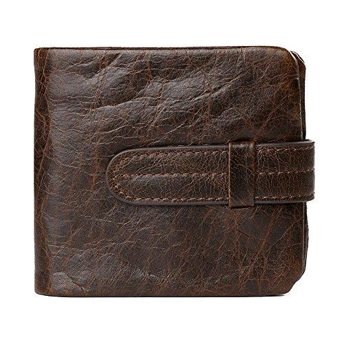 VRLEGEND Men Slim Bifold Wallet Vintage Genuine Leather Wallet With Strap Closure (Horizontal)