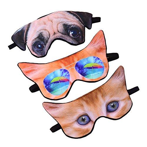 ACTLATI Cartoon Animal Eye Mask Sleeping Blindfold for Travel Home Office Rest