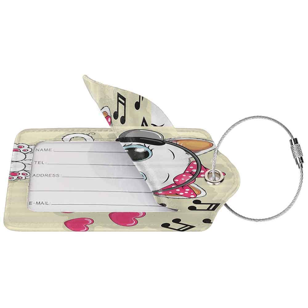 Flexible luggage tag Cartoon Decor Collection Cartoon Kitty with Headphones Heart Bubbles and Musical Tunes Big Eye Animal Art Fashion match Pink Beige White W2.7 x L4.6