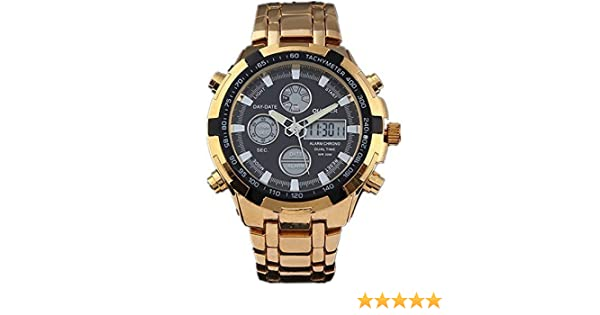 Amazon.com: QUAMER 165 Quartz Sport Muti-Functional Wrist Watch with Analog&Digital Time Display (Gold+Black): Watches