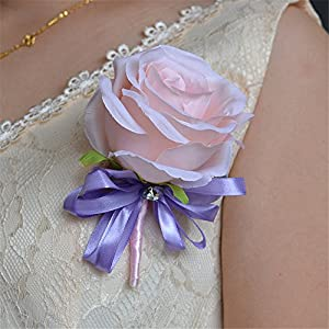 KUPARK Wedding Corsage Fabric Flowers Brooch Pins Bride Groom Party Prom Boutonniere 32
