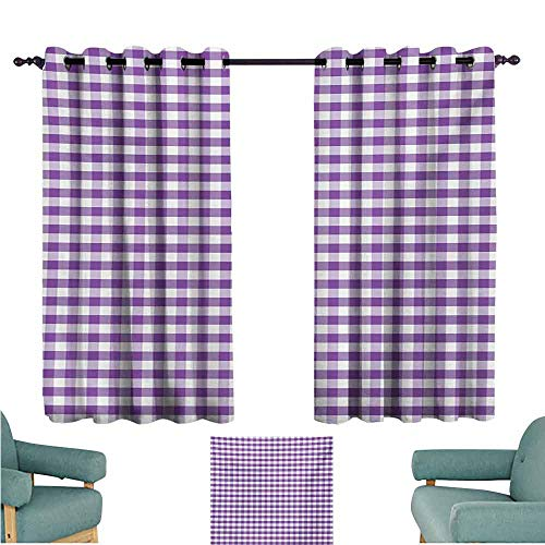 (DONEECKL Decor Curtains Checkered Tablecloth Purple and White Colored Gingham Checks Rows Picnic Theme Vintage Style Print Blackout Draperies for Bedroom Window W63 xL63 Purple White)