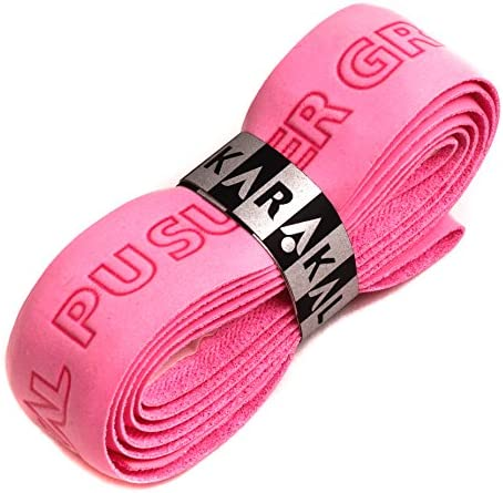Karakal PU Supergrip Replacement Racquet Grip - Tennis/Badminton/Squash - Various Single Colours (Pink, 3 Grips)
