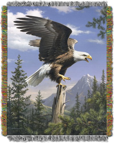 Hautman Brothers, Eagle Perch 48-Inch-by-60-Inch Acrylic Tapestry Throw by The Northwest Company - Eagle Tapestry