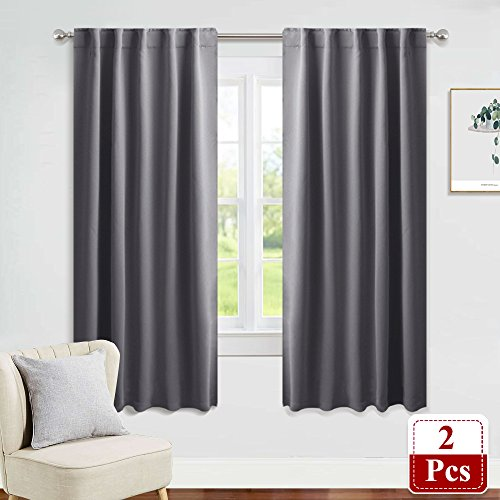 - PONY DANCE Window Treatments Curtains - Gray Blackout Drapes Home Decor Light Blocking Thermal Insulated Back Tab/Rod Pocket Curtain Panels for Living Room, W42 by L63, Grey, 1 Pair