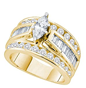 14kt Yellow Gold Womens Marquise Diamond Solitaire Bridal Wedding Engagement Ring 2.00 Cttw (Certified)