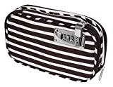 Vaultz VZ03816 Locking Diabetic/Medicine Soft Organizer Case, Multiple Zipper Pockets, Combination Lock, 5.7 x 2.2 x 9.25 Inches, Black/White Stripe