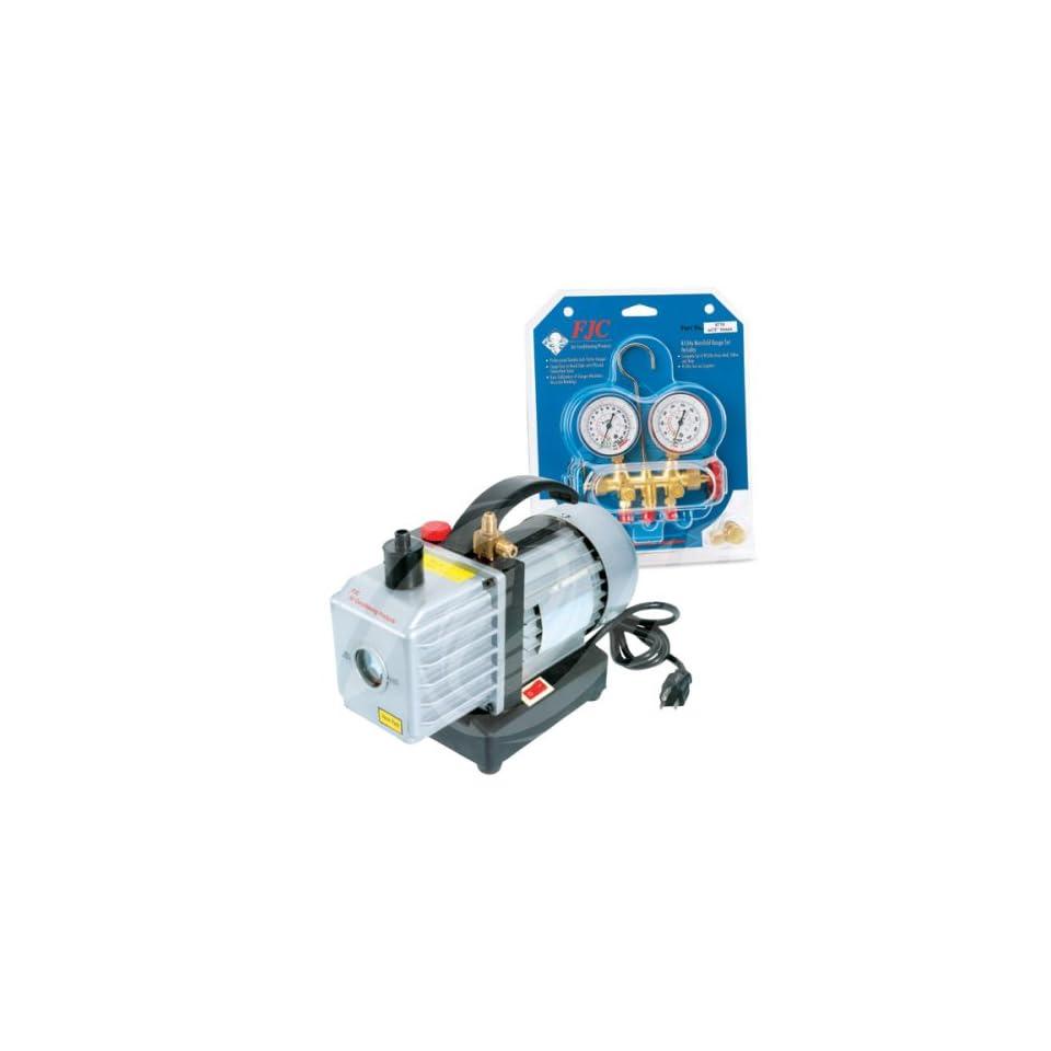 FJC 9281 Vacuum Pump & R134a Manifold Gauge Set
