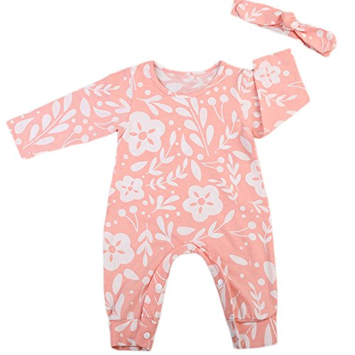 Newborn Infant Baby Girls Floral Long Sleeve Bodysuit Footie Romper Jumpsuit With Headband Outfits (18-24 Months, Pink)