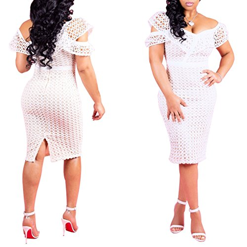 White Lace Women's Shoulder CutieLove Dress Off Dress Elegant Midi 8UqxPn