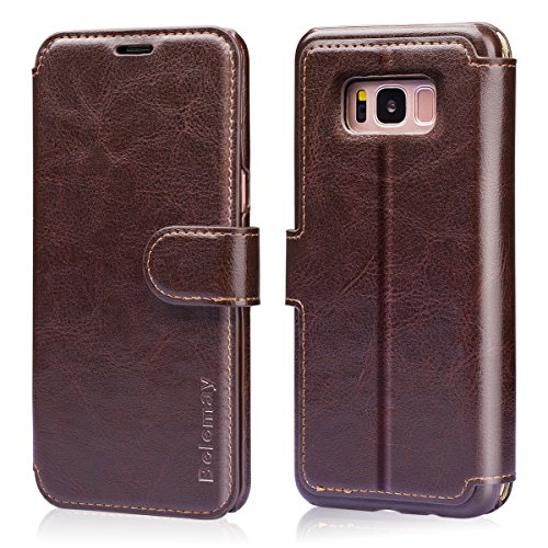 (Belemay Samsung Galaxy S8 Case, Genuine Cowhide Leather Wallet Case, Premium Folio Flip Book Cover with Magnetic Closure, Kickstand, Card Holder Slots, Cash Pockets Compatible Samsung Galaxy S8, Brown)