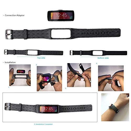 Eletespt Wireless Replacement Band Strap for Samsung Galaxy Gear Fit R350 Smartwatch Bracelet Accessories Bands (Black) by Eletespt (Image #6)