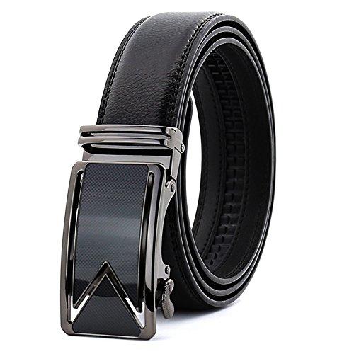(KHC Men's Belt 100% Leather Belt Ratchet Automatic Adjustable Buckle Black 4XL)