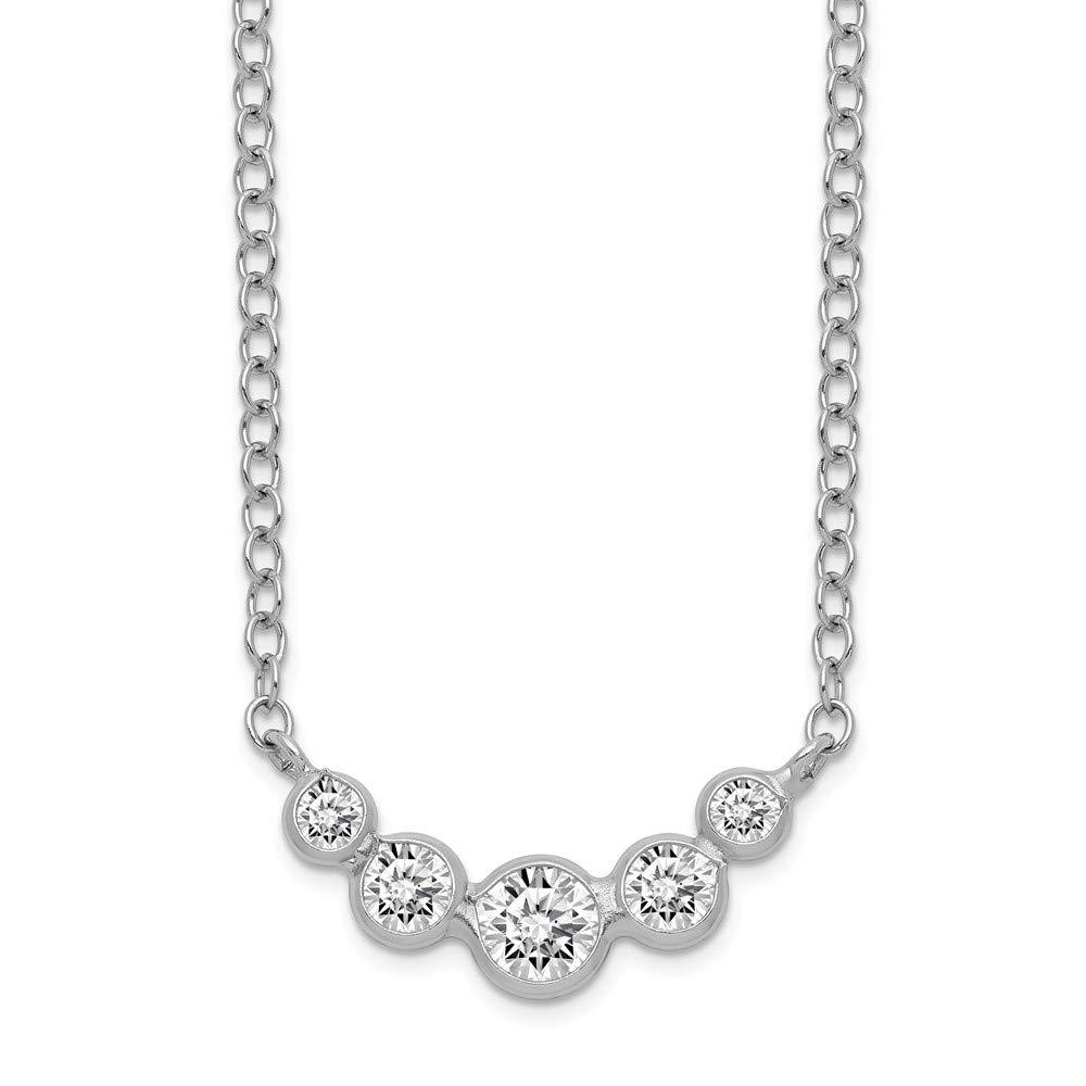 17.5 Length 925 Sterling Silver CZ Necklace