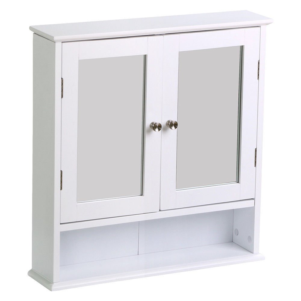 New Bathroom Cabinet Double Door Mirror White Wooden Wall Mounted Storage Shelf Elitezotec®