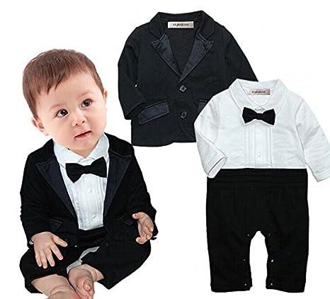 751d04657 Amazon.com: stylesilove Newborn Infant Baby Boys Tuxedo Bow Tie Jumpsuit  Romper and Black Jacket 2-pc Formal Wear Suit: Clothing