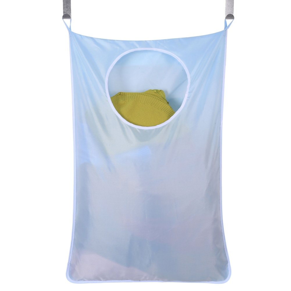 Wenasi Wall-Hanging Laundry Bag with 2 Stainless Steel Hooks and 2 Suction Cup Hooks Large Size for Bathroom, Bedroom (Blue)