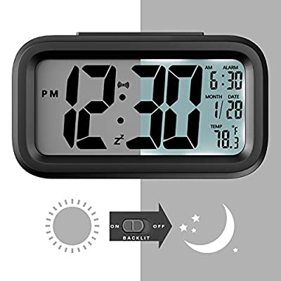 Helect H1040 Alarm Clock, Electronic Digital Morning Clock with Large LCD, Backlight, Calendar and Temperature, Black