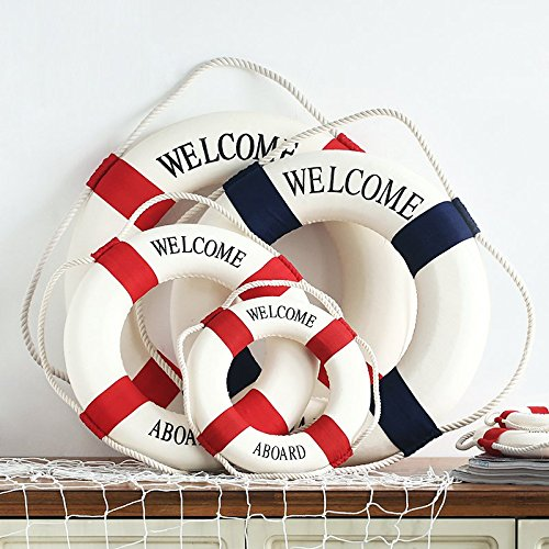 Life Preserver Hanging - Hanging Ornaments - Mediterranean Style Aboard Decorative Life Buoy Decor - Animation Palm Spirit Ornamentation Living Medallion Biography History Medal Sprightliness Story - 1PCs