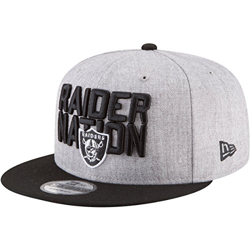 Cap Official Draft (New Era Oakland Raiders Official 2018 NFL Draft On-Stage Snapback 9Fifty Adjustable Hat - Heather Grey)
