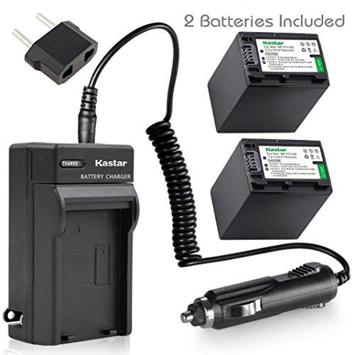 Kastar NP-FV100 Battery (2X) + Charger for Sony DCR-SR21, SR68, SR88, SX15, SX21, SX44, SX45, SX63, SX65, SX83, SX85, HDR-CX110, CX115, CX130, CX150, CX160, XR160, CX360, CX560, CX700, PJ30, PJ50 (Sony Dcr Sx45 Battery)