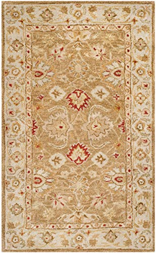 Safavieh Antiquities Collection AT822B Handmade Traditional Oriental Brown and Beige Wool Area Rug (3' x 5') (100 Wool Pile Rug Made In India)