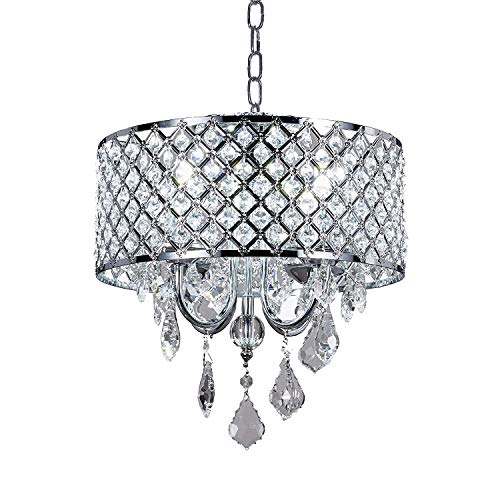 New Galaxy Lighting 4-Light Chrome Round Metal Shade Crystal Chandelier Pendant Hanging Ceiling Fixture ()